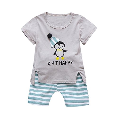 ♬♬Hot Sale!Todaies Summer Toddler Kids Baby Boys Clothes Cartoon Print T-Shirts Tee Tops +Denim Pants Outfit Set (2-3T, Gray)