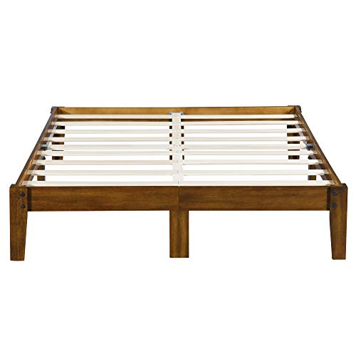 Olee Sleep Smart Wood Platform Bed Frame, King, Light Brown