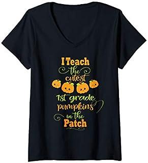 Womens Halloween Cutest Pumpkins Funny First Grade Teacher Gift V-Neck T-shirt | Size S - 5XL