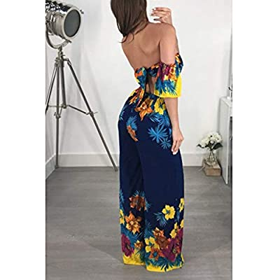 kemilove Women's Sexy Sleeveless Off Shoulder Floral Jumpsuits Casual Wide Leg Long Pants Rompers Ladies Outfits: Clothing