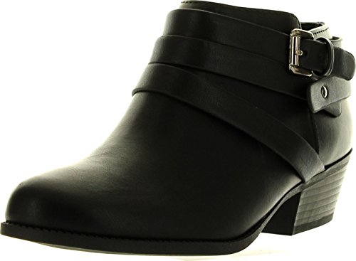 Soda Alum Womens Stylish New Arrival Buckle Strap Dress Ankle Bootie,Black,8
