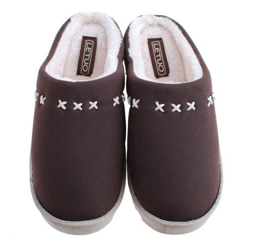 Pobofashion Matte Leather and Cotton/Novelty Slippers Women Men Slippers Herren-Dunkelbraun