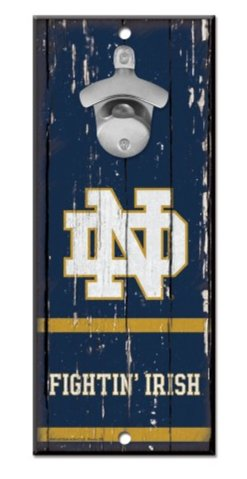 (WinCraft NCAA University Notre Dame Fighting Irish Wood Bottle Opener Sign, 5