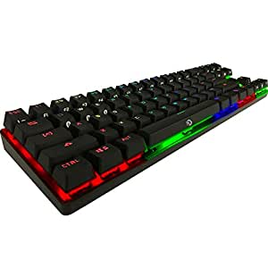 Drevo Calibur 71-Key Mechanical Keyboard RGB LED Backlit Wireless Bluetooth Connection with Blue Switch(Black)