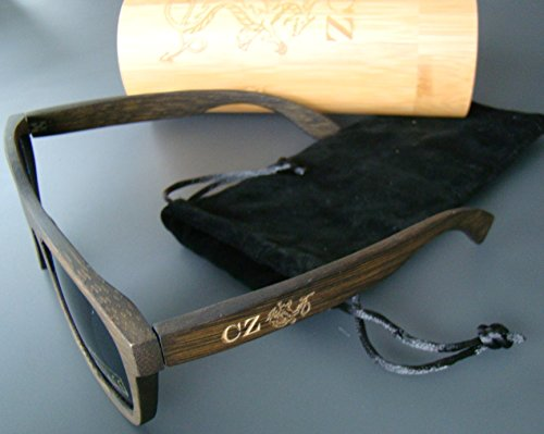 c6dd68ec9e Dark Wood Bamboo Custom Personalized Monogram Logo Mens UV400 Wooden  Sunglasses