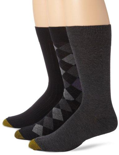 Gold Toe Men's Classic Argyle Sock, 3 Pack, Black Diamond/Charcoal Flat/Black Rib, 10-13 (Rib Dress Sock Classic)