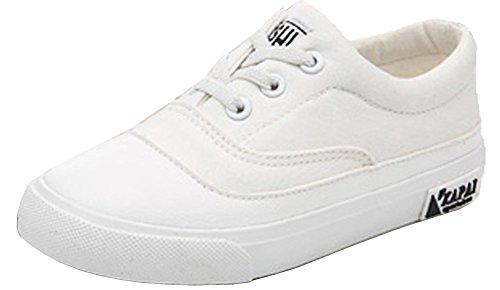 VECJUNIA Mädchen Jungen Bequeme Niedliche Elastische Runde Zehe Sneaker Kinder Turnschuhe Weiß
