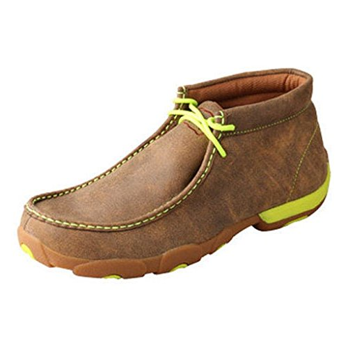 Twisted X Mens Driving Moccasins, Bomber/Neon Yellow, Size 8.5