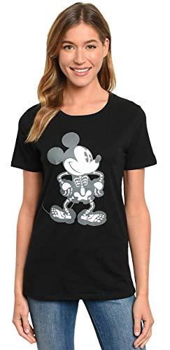 Disney Halloween Women's T-Shirt Mickey Mouse Skeleton Print (Black, ()