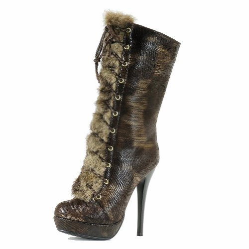 Calf BD2507 Boots Mid Fashion Lace Shoes Stilleto Up Womens Italina Brown 8X4gnx