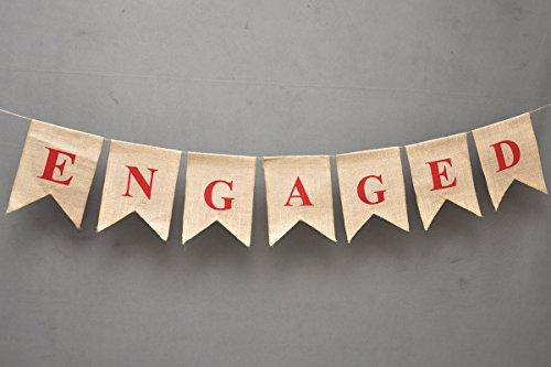 ENGAGED Hen Bride to be Engagement Party Decoration - Engagement Decoration Wedding Flag Burlap - Rustic Wedding Garland - Custom Spring Wedding Banner - Rustic pendants - Photo Props - burlap banner ()