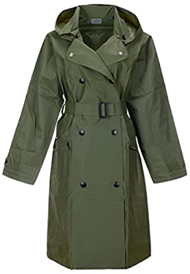 QZUnique Women's Lightweight Long Raincoat with Belt Waterproof Packable Ponchos Jackets with Hood