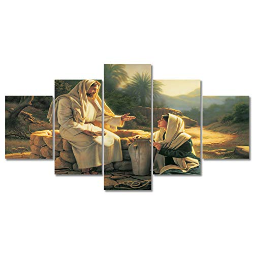 - Gethsemane Jesus Picture Framed Wall Decor for Living Room Bedroom Christian Faith Canvas Wall Art Christ Poster Retro Painting Prints 5 Pieces Framed and Stretched Ready to Hang(60