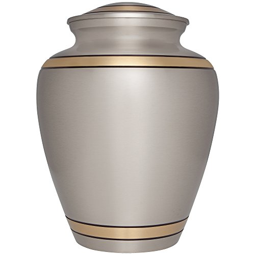 Silver Funeral Cremation Urn for Human Ashes by Liliane Memorials – Hand Made in Brass- Suitable for Cemetery Burial or Niche- Large Size fits remains of Adults up to 200 lbs – Peaceful Embrace Silver