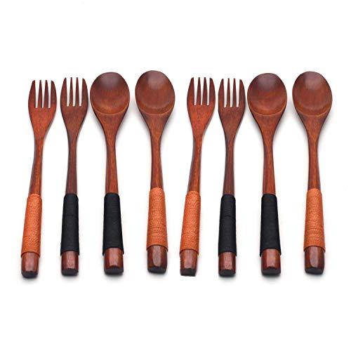 XMHF Wooden 9 inch Japanese Spoon Fork Set Kitchen Tableware Dinnerware Flatware Natural Wood Cutlery Wooden Dinner…