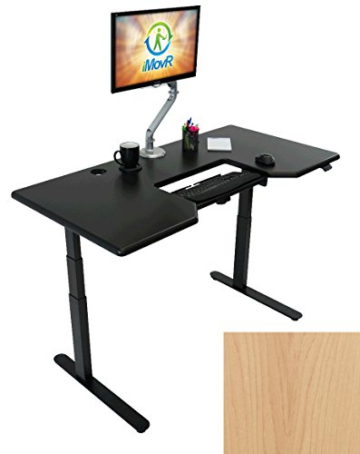 Lander Electric Adjustable Height Sit Stand Desk with Dual SteadyType Keyboard Trays, Black Base (Light Maple Top, 30
