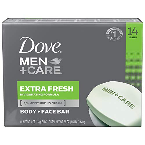 Dove Men + Care Extra Fresh Bar Soap, 14 Count (Pack of 1)