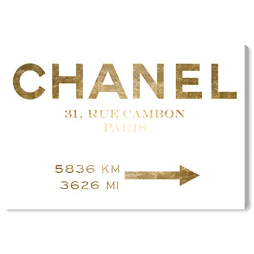 The Oliver Gal Artist Co. Fashion and Glam Wall Art Canvas Prints 'Couture Road Sign Minimalist Gold Foil' Home Décor, 15