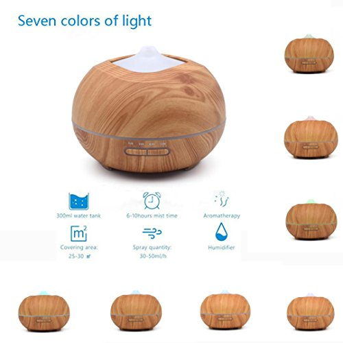 Price comparison product image Kanzd 7 Colors LED Lamp Wooden Diffuser Ultrasonic Humidifier Air Atomizer for Bedroom Office (as show)