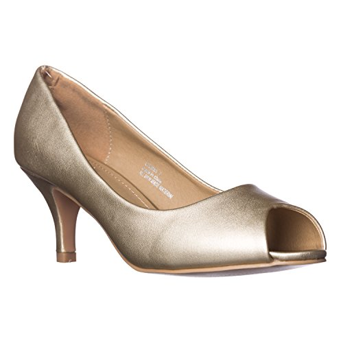 Women's Lydia Gold Pu Pumps Open Heel Toe Kitten Peep Riverberry aZHnxSH