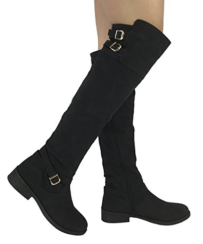 Wells Collection Womens Fiorina Over The Knee High Tall Riding Boots with Zipper, Black, - Boots Riding Tall