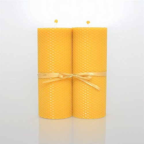 100% Pure Beeswax Pillar Candle Set of 2 - Large Pillar Candles Scented