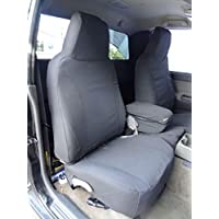Durafit Seat Covers, 2004-2012 Chevy Colorado and GMC Canyon, 60/40 Split Seat Covers in Graphite Twill with Opening Center Console Cover & Back Pockets. Custom Fit, Perfect for Pets, Work & Travel.