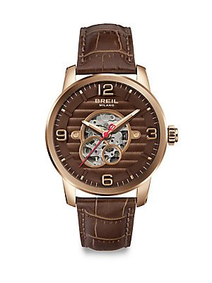 BRAND NEW Breil Men's Miglia Brown Leather Band Rose Gold Case Automatic Watch TW1258