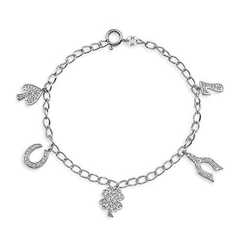 Good Luck Multi Clover Horseshoe Charm Bracelet For Women Graduation Gift Cubic Zirconia Pave CZ 925 Sterling Silver