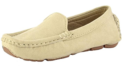(PPXID Toddler Little Big Kid's Girl's Boy's Suede Slip-on Loafers Casual Shoes-Beige 7 US Size)