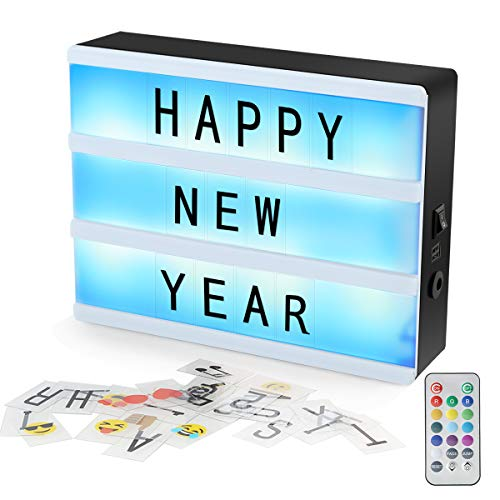 DEALPEAK Color Changing LED Cinema Light Box with Letters Numbers and Symbols, RGB Color Change A5 Size DIY Magnetic Light Up Message and Sign for Home/Party/Wedding/Shop Decoration (Colorful, A5)
