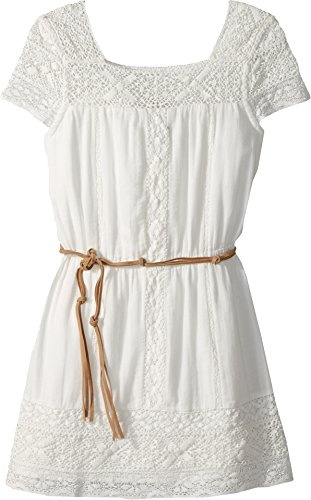 Price comparison product image Ella Moss Big Girls' Chiffon Dress With Faux Leather Stripe,  White,  14