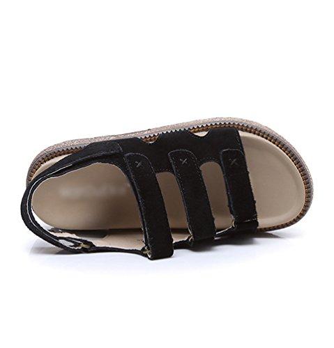 Plattform Klettverschluss Boden Schwarz Flatfrom Sommer Damen Keilabsatz Schuhe Dicken Römische Dicke LINNUO Sandalen Slingback Sandalen Sohle qtX0XA