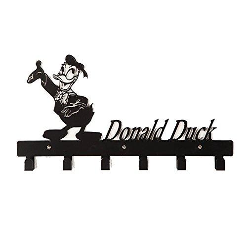YOURNELO Cute Ironwork Cartoon Characters Animals Art Wall Mounted Decorative Coat Rack Hooks (Donald Duck Black)