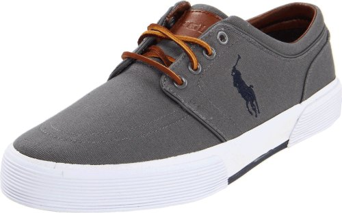 Polo Ralph Lauren Men's Faxon Low Sneaker, Grey, 8 D US