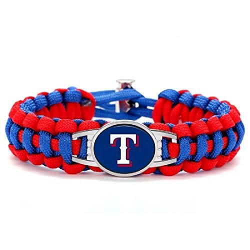 (Swamp Fox Premium Style Texas Rangers Baseball Team Adjustable Paracord Survival Bracelet)