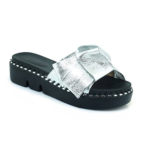 Platform 34 Slippers Outside Flat Camouflage Woman Black vovmi Bling Shoes Silver qnS6wz0X4
