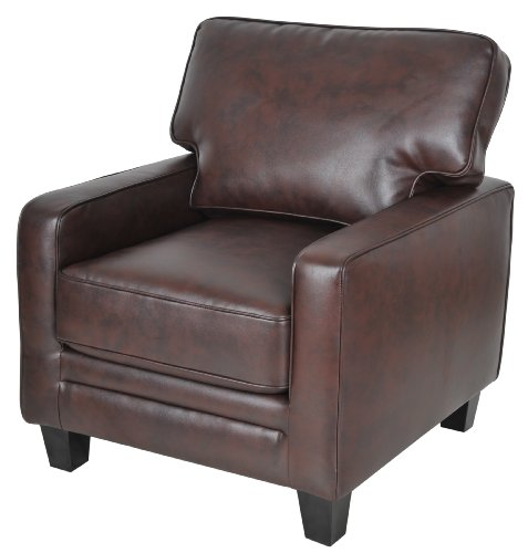 serta monaco collection arm accent chair, biscuit bonded leather, cr44107