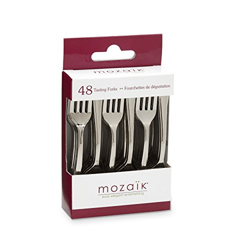 Mozaik MMTF48-S Recyclable Tasting Forks, Silver