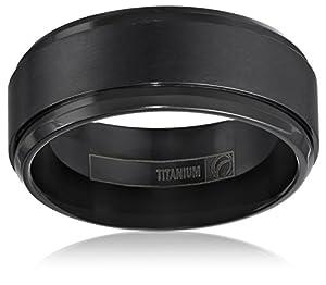 mens black titanium 9mm comfort fit wedding band