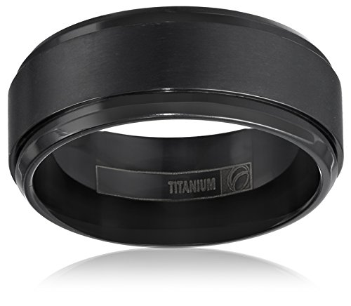 Black Titanium 9mm Comfort-Fit Wedding Band with Satin Finish and High Polished Double Edge, Size 10.5