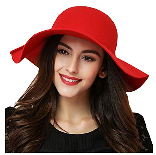ASSQI Women's Foldable Wide Brim Beach Retro Fedora Floppy Wool Felt Hat Red for $<!--$19.99-->