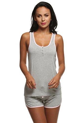 Ekouaer Sleepwear Ladies Cami Sets Sleeveless Racer Back Lingerie Large Size (Gray,XL) - Cashmere Cotton Shorts