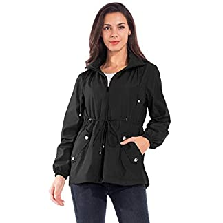 JTANIB Women's Lightweight Hooded Waterproof Raincoat Windbreaker Packable Active Outdoor Rain Jacket