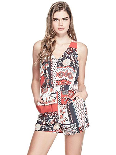 Guess Red Multi Sleeveless Tapestry Print Belle V-Neck Romper XL ()