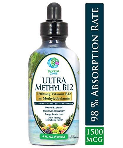 Ultra Methyl B12 - Vitamin B12 Sublingual Liquid Drops (as Methylcobalamin) - Maximum Absorption - Help Fights fatigue and provide natural energy* - Vegan, Non-GMO - Strawberry flavor - 4oz