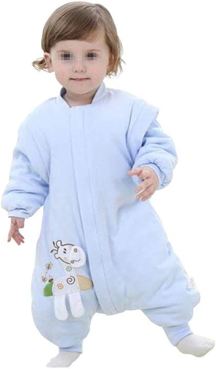 Blue, L//86cm for 2-3 years old Elandy 1PCS Unisex Kids Cotton Giraffe Style Baby Thicker Romper Winter Coverall Sleeping Bag Kids Sleep Sack With Long Sleeves and Feet For Travel and Air-Conditioned Rooms