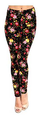 (VIV Collection Regular Size Printed Brushed Ultra Soft Leggings (Pink Yellow Red Roses))
