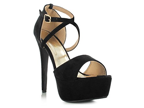 Good Deals Online Faux Suede Criss Cross Ankle Strap Peep Toe High Heeled Platform Stiletto Sandals Super Comfy for a Casual Summer Look Women's Daytime/Evening Holiday Footwear Black Suede Z2f4n