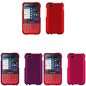 Viesrod iFase Brand BlackBerry Q5 Combo Rubber Red Protective Case Faceplate Cover + Rubber Purple Protective Case Faceplate...
